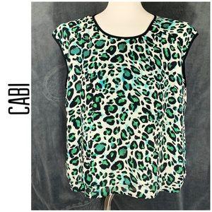 CAbi Animal Print Sleeveless Layered Top